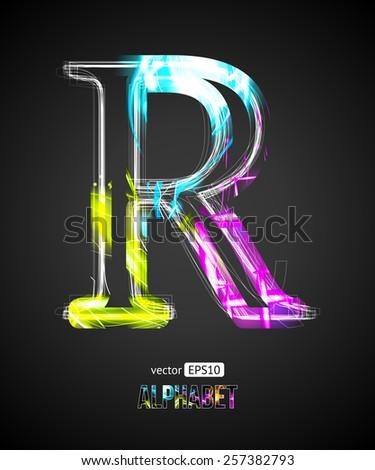 Vector Design Light Effect Alphabet. Letter R on a Black Background. - stock vector