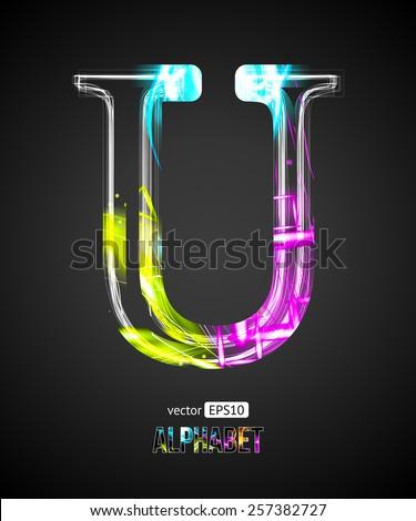Vector Design Light Effect Alphabet. Letter U on a Black Background. - stock vector