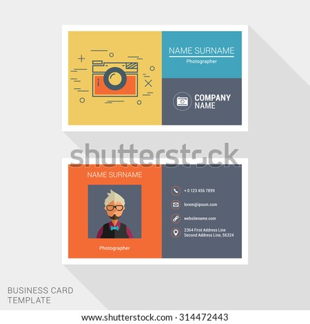 Vector Design Modern Creative and Clean Business Card Template. Flat Design Vector Illustration - stock vector