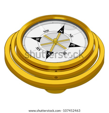 vector design of a golden compass isolated on white background - stock vector