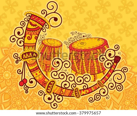 Vector design of art and music of India in Indian art style - stock vector