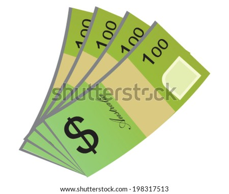 Vector design of Australian Currency of 100 Australian dollar money isolated on white background in EPS10. - stock vector