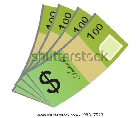 Vector design of Australian Currency of 100 Australian dollar money isolated on white background in EPS10. - stock vector