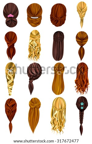 Vector design of beautiful collection of female hairdo - stock vector