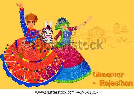 Vector design of Couple performing Kachhi ghodi folk dance of Rajasthan, India - stock vector
