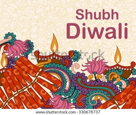 Vector design of Diwali decorated diya and fircracker in Indian art style wishing Shubh Deepawali (Happy Diwali) - stock vector