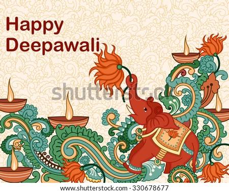 Vector design of Diwali decorated diya in Indian art style - stock vector