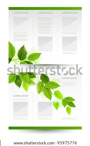 vector design of eco booklet with branch of fresh green leaves - stock vector