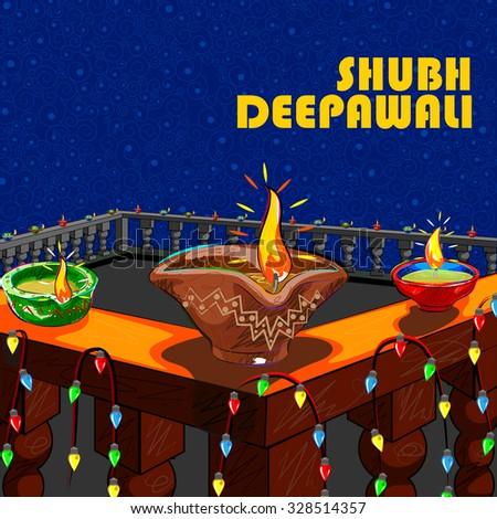 Vector design of house decorated with diya for Diwali wishing Shubh Deepawali ( Happy Diwali) - stock vector