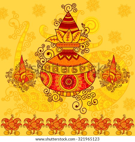 Vector design of kalash with coconut, mango leaves and diya in Indian art style - stock vector