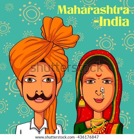 Vector design of Maharashtrian Couple in traditional costume of Maharashtra, India - stock vector