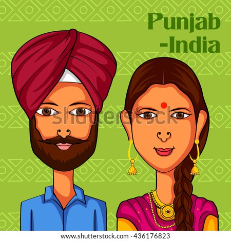 Vector design of Punjabi Couple in traditional costume of Punjab, India - stock vector
