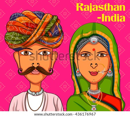 Vector design of Rajasthani Couple in traditional costume of Rajasthan, India - stock vector