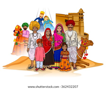 Vector design of Rajasthani family showing culture of Rajasthan, India - stock vector