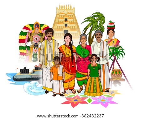of Tamil family showing culture of Tamil Nadu, India  stock vector