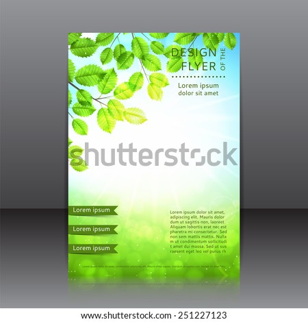 Vector design of the flyer with leaves and sun. Vector spring day background with sunshine.Poster template for your business. - stock vector