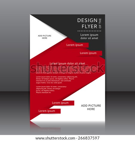 Vector design of the red flyer whit black elements and place for pictures. It is a poster template for your business. - stock vector