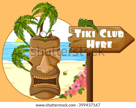 Vector design of Tiki Club poster with tribal mask - stock vector