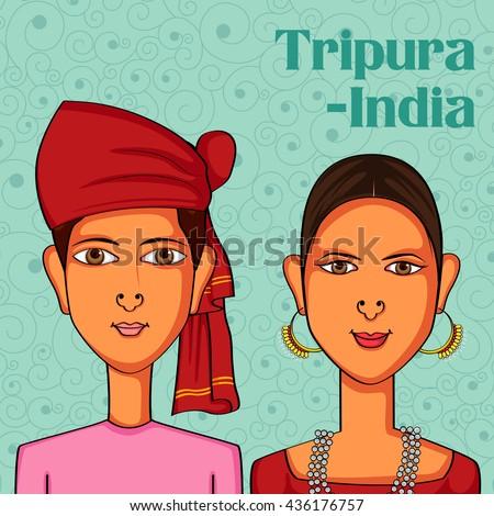 Vector design of Tripuri Couple in traditional costume of Tripura, India - stock vector