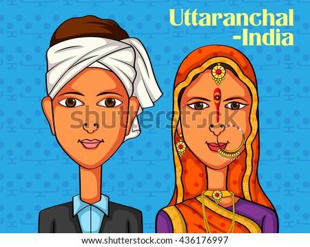 Vector design of Uttaranchali Couple in traditional costume of Uttaranchal, India - stock vector