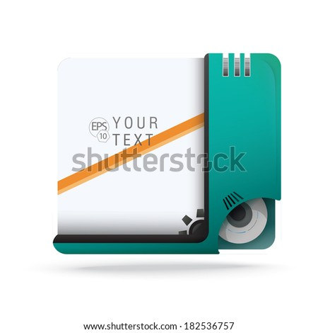 vector design. Robot concept edition of a turquoise scalable eps10 format mechanical framed - bordered vector text field with custom/adjustable background element for web, brochure & universal use - stock vector
