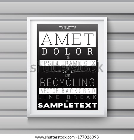 Vector design. Scalable and adjustable 3d, photo realistic background frame illustration with minimal white surface,  A4 format paper sheet content holder, for event invitation advertising element. - stock vector