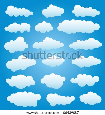 vector design set of clouds in the sky - stock vector
