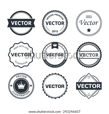 Vector design set  of emblem, stamp, illustrations - stock vector