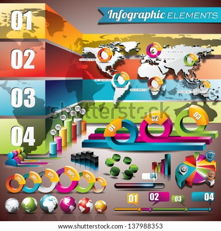 Vector design set of infographic elements. World map and information graphics. EPS 10 illustration - stock vector