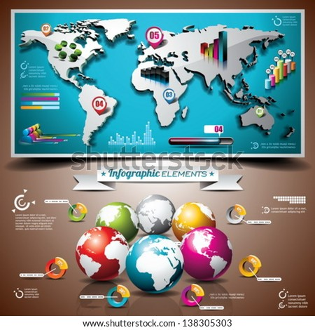 Vector design set of infographic elements. World map and information graphics on mobile phone. EPS 10 illustration - stock vector