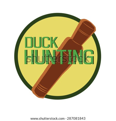 vector design symbol duck call hunting in round - stock vector