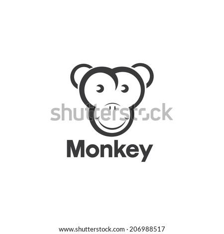 Vector design template of an monkey - stock vector