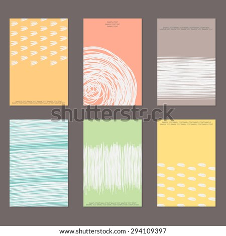 Vector design templates. Set of Vintage Creative Cards with Hand Drawn Hipster Textures Made with Ink. Vector Background. Retro Patterns for Placards, Flyers, Posters and Banner Designs. - stock vector