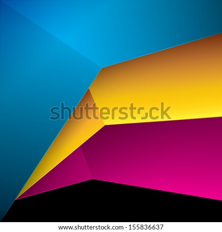Vector design. Three  cmyk color concept sheets in a geometric abstract minimal 3d composition for web template base element, print, infographics &  brochure or whole  page illustration - stock vector