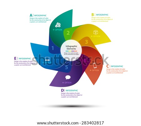 Vector design turbine for infographics, Infographics step concept, Template for cycling diagram, graph, presentation, number options, step up options, web design and round chart, 5 options - stock vector