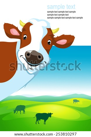 vector design with cow and landscape - stock vector