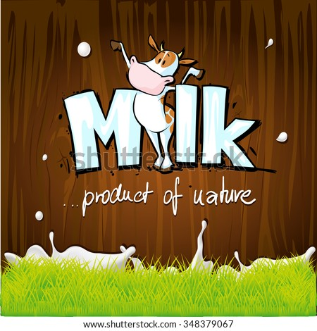 vector design with milk, cow, wood and grass - stock vector