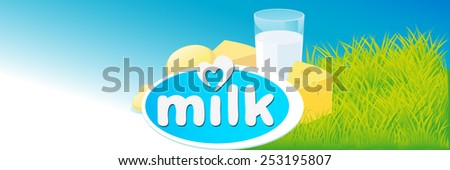 vector design with milk, dairy product and green grass - stock vector