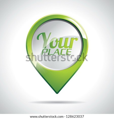 Vector design with round Map Pointer Icon on a clear background. EPS 10 illustration. - stock vector