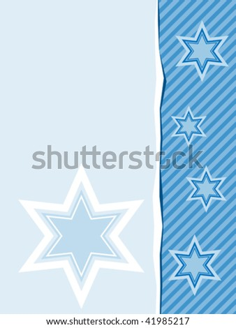 vector design with six pointed stars in shades of blue - stock vector