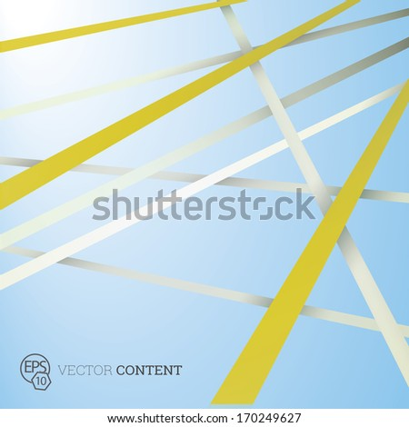 Vector design. Yellow white edition of straight crossing lines in a scalable eps10 geometric composition. Stripes for webdesign, printed brochure or for infographics abstract illustration background  - stock vector