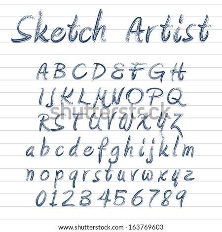 Vector designer sketched alphabet in blue ink on lined background - stock vector