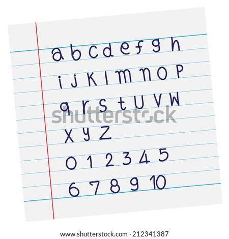 Vector designer sketched alphabet in blue ink on paper - stock vector