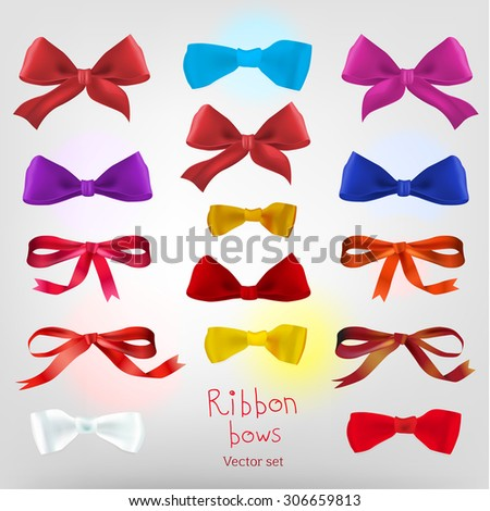 Vector designers set with different beautiful ribbon bows. Useful collection for making postcards, wedding invitations, ornaments and other cute and romantic designs. - stock vector