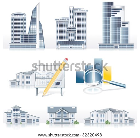 Vector detailed architecture icon set - stock vector
