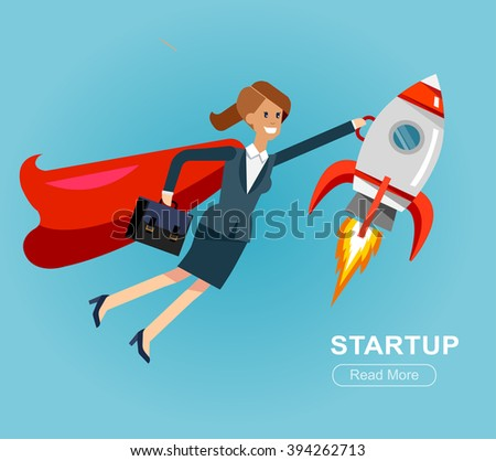 Vector detailed character business woman startup. Flat style website banner startup concept web infographics. Rocket fly with businesswomen hero - stock vector