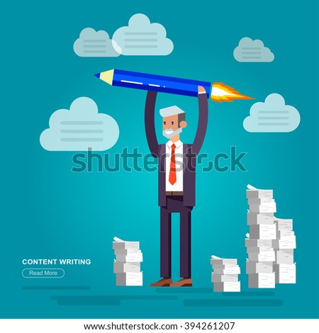 Vector detailed character businessman with pencil rocket. Graphic Design, Copywriting and creative. Conceptual web, flat, metaphor illustration - stock vector