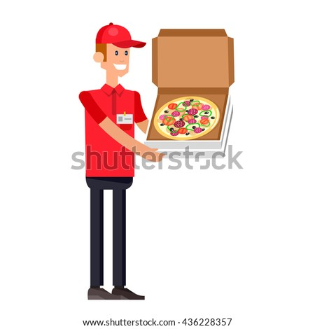 Vector detailed character, cool flat  illustration cartoon pizza delivery guy, y fast to the door - stock vector