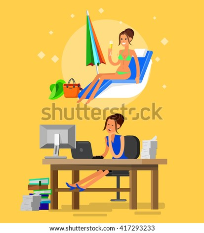 Vector detailed character corporate business worker sitting behind desk and dream about summer beach vacation. Office worker sleeps at work. Cool flat  illustration. Vector business Office worker - stock vector