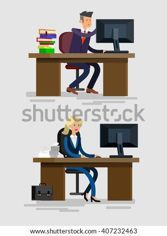 Vector detailed character corporate Office worker, business team people sitting behind desk. Office workers. Men and women office worker. Office worker cool flat  illustration - stock vector